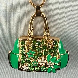 Betsey Johnson Necklace Handbag Tote Purse Green